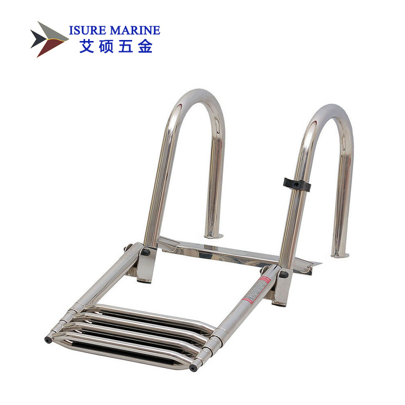 Stainless Steel Inboard Rail Boat 4 Step Telescoping Ladder Dock Ladder
