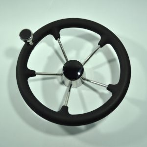 13-1/2 Inch 5 Spoke Destroyer Boat Steering Wheel with Black Foam Grip& Knob