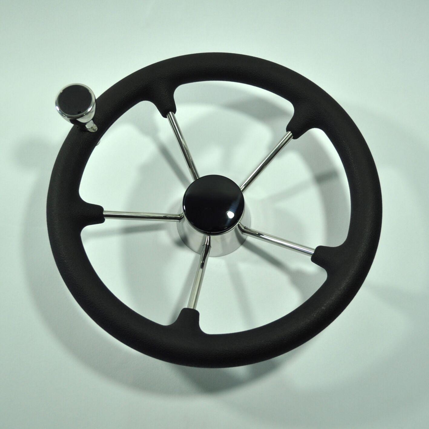 13-1/2 Inch 5 Spoke Destroyer Boat Steering Wheel with Black Foam Grip& Knob